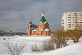 New temple moscow municipal landscape church ashore the frozen lake Stock Photos