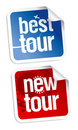 New tours stickers Stock Photo