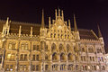 New Town Hall in Munich, Germany, at night Stock Images