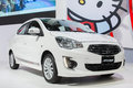 New toyota attrage white color at the th thailand international motor expo on december in bangkok thailand Royalty Free Stock Images