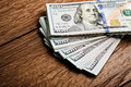 New 100 US dollars 2013 edition banknotes (bills) Royalty Free Stock Photo