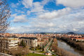 New valladolid skyline panoramic view of the residential area of and crossed by the pisuerga river spain Stock Photo