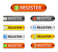 New web glossy register buttons. Registration sign Royalty Free Stock Photo
