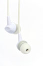 New white earphone for music listening Stock Image