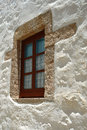 New window in old greek house an on the island of patmos Royalty Free Stock Photography