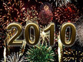 The new year 2010 with fireworks Royalty Free Stock Image