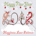New Year 2012 dragons greeting vector card Royalty Free Stock Images