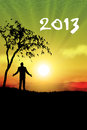 New year 2013 man standing Stock Image