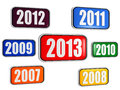 New year 2013 and previous years in banners Royalty Free Stock Photo