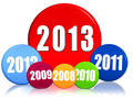 New year 2013, previous years, colored circles Royalty Free Stock Photo