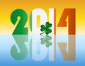 New Year 2014 Ireland Flag Illustration Stock Photography