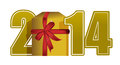 New year 2014 text and gift Stock Photo
