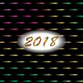 New year 2018 abstract background with lights and neon effect. Royalty Free Stock Photo