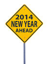 New year ahead road sign isolated on white Stock Image