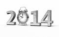 New year and alarm clock d render silver isolated on white clipping path Stock Images