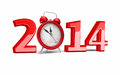 New year and alarm clock d render on white clipping path Royalty Free Stock Images