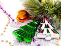 New year background with colorful decorative furtree Stock Images
