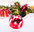 New year background with decoration red ball Royalty Free Stock Photos