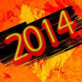 New year background neon on grunge orange Stock Photos