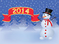 New year background with snowman holding banner Royalty Free Stock Photography