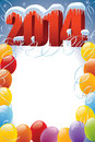 New year with balloons frame decoration ready for your message Stock Photography