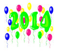 New year with balloons vector illustration Royalty Free Stock Photo