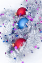 New year balls garland snow Royalty Free Stock Images