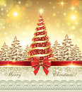 New year banner with elegant tree christmas and winter landscape on the decorative golden background Stock Images