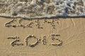New Year 2015 on beach