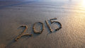 2015 new year on beach sand Royalty Free Stock Photo