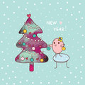 New year and bird cute decorates a christmas tree illustration Stock Photo