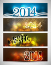 New year bright colorful four headers and banners set Stock Image