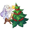 New year bunny dresses up christmas tree Royalty Free Stock Photography