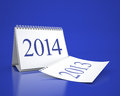 New year calendar d desktop and in blue background Royalty Free Stock Photos