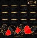 2014 new year calendar in poker theme vector