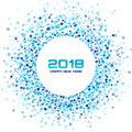 New Year 2018 Card Background. Blue Light Halftone Circle Frame using confetti circle dots texture on white background