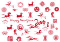 New year card with chinese icons the horse happy Stock Photography