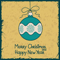 New year card with christmas ball decoration vintage Stock Photos