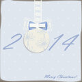 New year card with cute ball with bow Royalty Free Stock Images