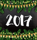 2017. New Year Card with Fir Branches and Neon Garlands.
