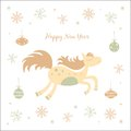 New year card with a horse and christmas Stock Image