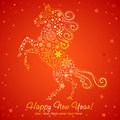 New year card of horse made of snowflakes stylized chinese Royalty Free Stock Photography
