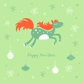 New year card with a horse and snowflakes christmas Royalty Free Stock Images