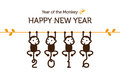 New year card with monkey for Stock Photo