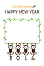 New year card monkey illustration with for Royalty Free Stock Photography