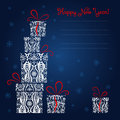 New year card with ornamented gift boxes and snowflakes and place for your text Stock Image