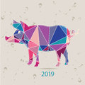 The 2019 new year card with Pig made of triangles