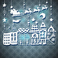New year card with santa or christmas for holiday design claus in sleigh over houses Royalty Free Stock Photography