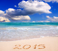 New year on a caribbean beach Royalty Free Stock Image