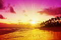New year in caribbean written sand on tropical beach sunrise Royalty Free Stock Photo